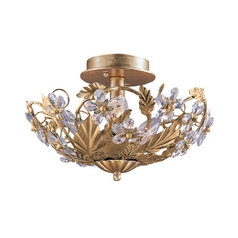 Crystal Semi-Flushmount Light in Gold Leaf Finish