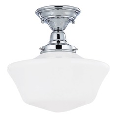 Design Classics Lighting 12-Inch Retro Style Schoolhouse Ceiling Light in Chrome Finish FBS-26 / GA12