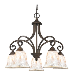 Chandelier with Beige / Cream Glass in Neuvelle Bronze Finish