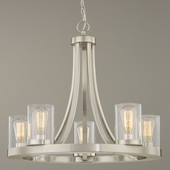 5-Light Chandelier with Clear Glass in Satin Nickel Finish
