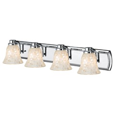 4-Light Mosaic Glass Bath Wall Light in Chrome