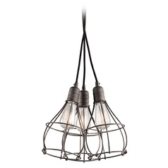 Kichler Lighting Industrial Cage Weathered Zinc Multi-Light Pendant