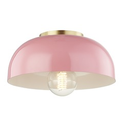 Mitzi Avery Aged Brass / Pink Semi-Flushmount Light