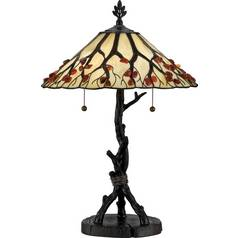 Table Lamp with Art Glass in Valiant Bronze Finish