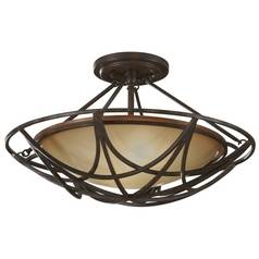 Semi-Flushmount Light with White Glass in Mocha Bronze Finish