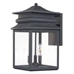 Minka Lighting Outdoor Wall Light with Clear Glass in Black Finish 72282-66