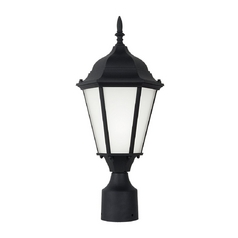 Sea Gull Lighting Post Light with White Glass in Black Finish 82938BL-12