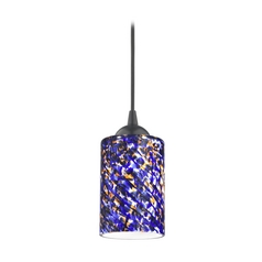Design Classics Lighting Modern Mini-Pendant Light with Blue Glass 582-07 GL1009C