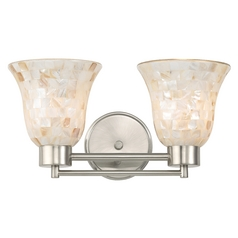 Bathroom Light with Mosaic Glass Glass in Satin Nickel Finish