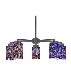 Modern Chandelier with Five Lights and Art Glass