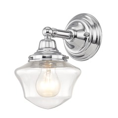 Clear Glass Schoolhouse Sconce Chrome 1 Light 6 Inch Width