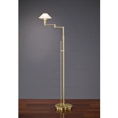 Holtkoetter Modern Swing Arm Lamp with White Glass in Brushed Brass Finish