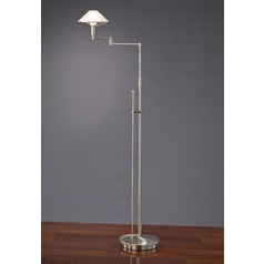 Holtkoetter Modern Swing Arm Lamp with Alabaster Glass in Satin Nickel Finish