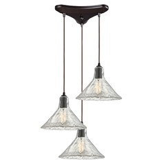 Elk Lighting Hand Formed Glass Oil Rubbed Bronze Multi-Light Pendant with Conical Shade