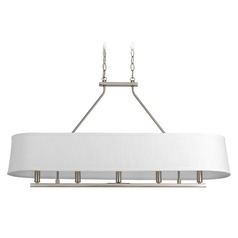 Progress Lighting Cherish Brushed Nickel Island Light with Oval Shade