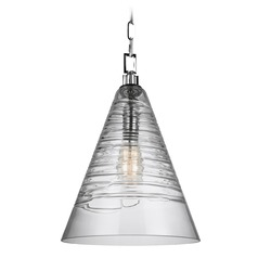 Feiss Lighting Elmore Chrome Pendant Light with Conical Shade