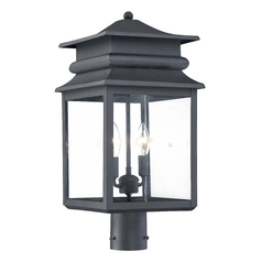 Minka Lighting Post Light with Clear Glass in Black Finish 72286-66