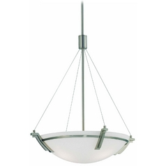 Modern Pendant Light with White Glass in Polished Steel Finish