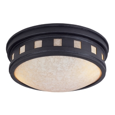 Close To Ceiling Light with Amber Glass in Oil Rubbed Bronze Finish