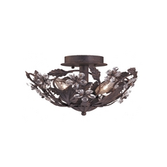 Crystal Semi-Flushmount Light in Dark Rust Finish