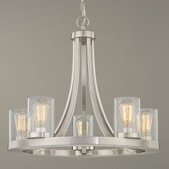 Industrial Seeded Glass Chandelier Satin Nickel 5 Lt