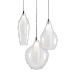 Kuzco Lighting Victoria Chrome LED Multi-Light Pendant with Bowl / Dome Shade
