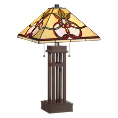 Quoizel Tiffany Copper Table Lamp with Square Shade