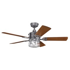 Kichler Lighting Lyndon Patio Weathered Steel Powder Coat Ceiling Fan with Light