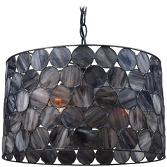 Drum Pendant Light with Grey Glass in Matte Black Finish