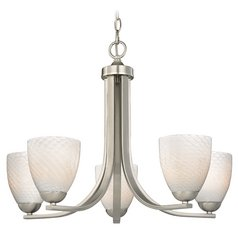 Contemporary Chandelier in Satin Nickel Finish with White Art Glass