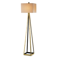 Mid-Century Modern Floor Lamp Gold Leaf / Black Bel Mondo by Currey and Company Lighting