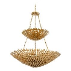 Crystorama Lighting Broche Antique Gold Pendant Light