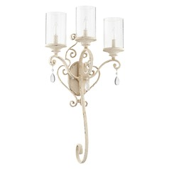 Seeded Glass Sconce White Quorum Lighting