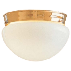 Flushmount Light with White Glass in Polished Brass Finish
