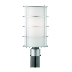 Modern Post Light with White Glass in Vista Silver Finish