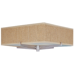 Modern Flushmount Light with Brown Shades in Satin Nickel Finish