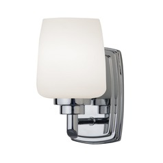 Polished Chrome Sconce with Opal White Glass