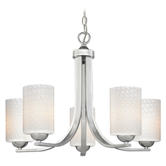 Contemporary 5-Light Chandelier with White Art Glass in Chrome