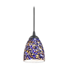 Design Classics Lighting Modern Mini-Pendant Light with Blue Glass 582-07 GL1009MB