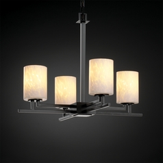 Justice Design Fusion 4-Light Chandelier in Matte Black