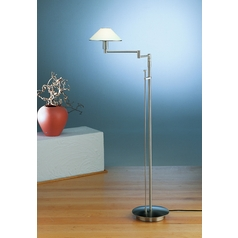 Holtkoetter Modern Swing Arm Lamp with White Glass in Satin Nickel Finish