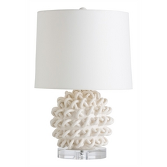 Arteriors Home Lighting Jamienne Ivory Crackle Table Lamp with Drum Shade
