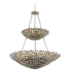 Crystorama Lighting Broche Antique Silver Pendant Light