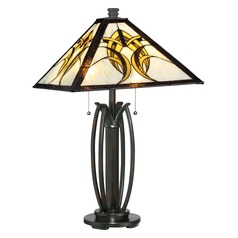 Quoizel Tiffany Valiant Bronze Table Lamp with Square Shade