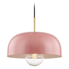 Mitzi Avery Aged Brass / Pink Pendant Light with Bowl / Dome Shade