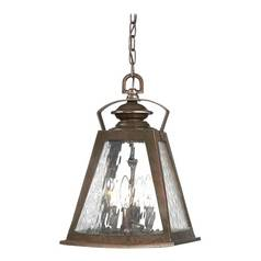 Outdoor Hanging Light with Clear Glass in Architectural Bronze with Copper Highlights Finish