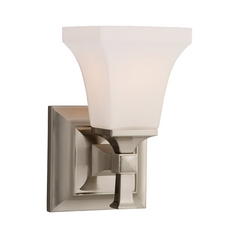 Sea Gull Lighting Modern Sconce Wall Light with White Glass in Brushed Nickel Finish 44705-962