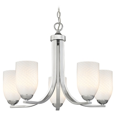 Modern Chrome Chandelier with White Art Glass Shades and Five Lights