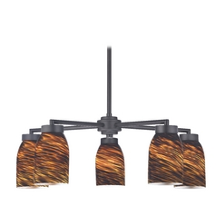 Modern Chandelier with Five Lights and Brown Art Glass in Black Finish