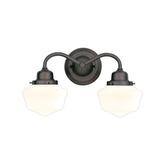 Sconce Wall Light with White Glass in Old Bronze Finish